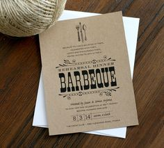 Vintage Fork & Knife Rehearsal Dinner BBQ Invitation by deaandbean