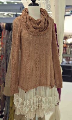 Rachel- Women's Autumn Lacy Sweater Dress...paired with tights, boots, and scarf #mori