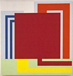 Peter Halley, Auto Zone, 1996, acrylic Day-Glo and Roll-a-Tex on canvas. ©THE ARTIST. COURTESY COLLEZIONE MARAMOTTI, REGGIO EMILIA AND WHITECHAPEL GALLERY