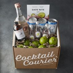 Cocktail Courier Full Size Kit - Vodka Cocktail Courier Kit Date Night. Grandparents Day Crafts, Fathers Day Crafts, Grandparent Gifts, Liquor Gift Baskets, Wine Baskets, Basket Gift, Diy Food Gifts, Homemade Gifts, Flower Crafts Kids