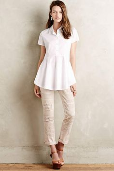 Pilcro Hyphen Lace-Patched Chinos - anthropologie.com