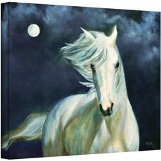 ArtWall Marina Petro Moonsilver Gallery-wrapped Canvas, Size: 36 x 48, White