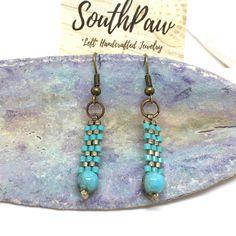 PEYOTE EARRINGS, Turquoise Bead Earrings, Dangle Earrings, Beaded Earrings, Beaded Jewelry, Delica Earrings, Handmade Earrings by SunsetSouthPaw on Etsy https://www.etsy.com/listing/514097948/peyote-earrings-turquoise-bead-earrings