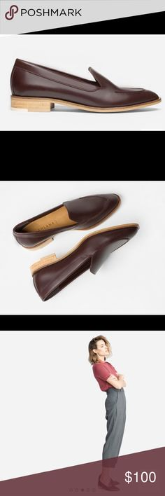 Everlane's The Modern Loafer in Oxblood in 8 1/2 Classic leather loafer in Oxblood/Burgundy. Made in Italy. Size 8 1/2 (Runs Narrow. Need to size up 1/2 size if you want more room/width). Only worn 3-4 times, in great condition. Everlane Shoes Flats & Loafers