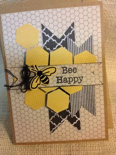Bee Happy handmade card by SoInspiredByLife on Etsy, $4.00