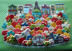 Springtime in Paris cookie platter by Cookie Artisan. This woman is beyond amazing!!