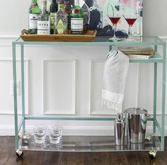 Turn a Vittsjo laptop table into a cute bar cart. | 15 Totally Ingenious IKEA Hacks