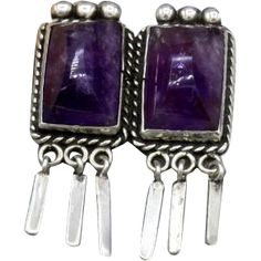 9f4b4297b Vintage Mexican Silver brooch 2 large matching amethyst tapered dangles 40s
