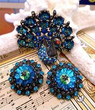 VINTAGE WEISS PEACOCK LARGE RIVOLI MARGARITA BLUE SET LOT CLIP PIN BROOCH RARE