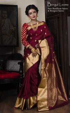 Art Silk Kanjivaram Saree in Maroon and Gold