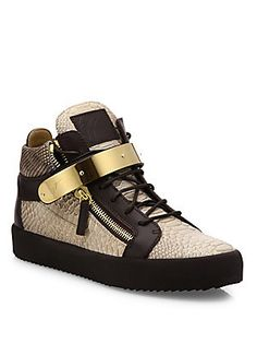 Giuseppe Zanotti Snake-Embossed Leather High-Top Sneakers - Roccia - S