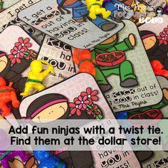 Editable Freebie: Ninja Valentines are perfect from teacher to student!