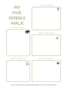 Explore the five senses on a walk with your child. #STEMed #ece #preschool #kindergarten #homeschool #edchat #storybookscience Feelings Activities, Senses Activities, Science Activities For Kids, Preschool Science, Educational Activities, Book Activities, Nature Activities, Preschool Learning, Preschool Ideas