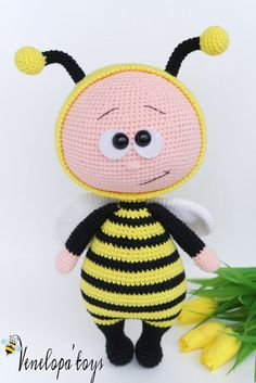 Doll With Bee Costume Stuffed Toy by VenelopaTOYS on Etsy