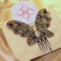 Flutter  Butterfly Haircomb by beadifulbaublesSC on Etsy