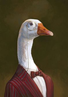 Fancy aristocrat goose with monocle illustration artwork by Ignasi Monreal. I want to frame this and hang it in my foyer. Arte Obscura, Bild Tattoos, Animal Heads, Weird Art, Surreal Art, Animal Paintings, Aesthetic Art, Pet Portraits, Cute Art