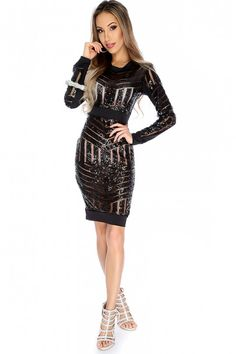 Sexy Black Semi Sheer Long Sleeve Sequin Detailed Dress