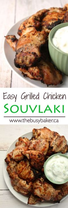 The Busy Baker: Grilled Chicken Souvlaki This Easy Greek Chicken Souvlaki is a delicious grilled chicken that tastes exactly like traditional Greek souvlaki! Grilled Chicken Recipes, Grilled Meat, Grilled Chicken Thigh Marinade, Chicken Souvlaki Marinade, Chicken Slovaki Recipe, Greek Grilled Chicken, Chipotle Chicken, Turkey Recipes, Dinner Recipes