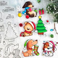 I had fun these cuties from ! Christmas Drawing, Christmas Dog, Holiday Cards, Christmas Cards, Cumpleaños Diy, Christmas Paper Crafts, Dog Cards, Mft Stamps, Animal Cards