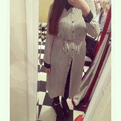 Team M&M outfit of the day! New in maxi striped shirt! Get it now at 21 Guildhall Street, #Preston city centre!