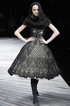 Alexander McQueen knitted lace dress, and heck let's throw a cowl on for good measure.