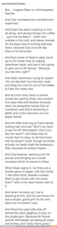 I'm not really on the Destriel train, but this is terribly cute. Supernatural AU