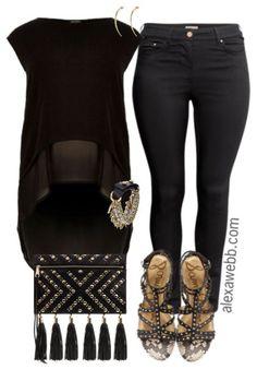 Plus Size Black & Gold Outfit - Plus Size Outfit Idea - Plus Size Fashion - alexawebb.com