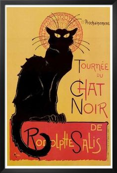 Professionally Framed Theophile Steinlen Tournee du Chat Noir Art Print Poster - 24x36 with RichAndFramous Black Wood Frame