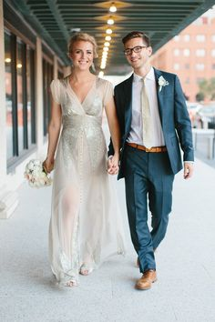 Lovely Couple, Lovely Dress! || Beautiful Bride in BHLDN's Aiguille gown