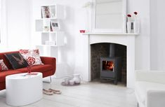 White lounge with red Brighten Dark Room, Dark Living Rooms, Dark Rooms, Open Plan Kitchen Dining Living, White Lounge, Paint Fireplace, Wood Burner, Moving House, Colour Schemes