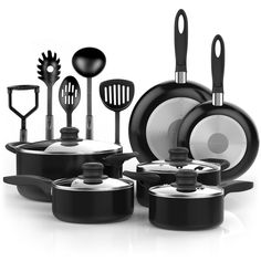Vremi 15 Piece Nonstick Cookware Set Kitchen Pots and Pans with Cooking Utensils Non Stick PTFE PFOA Free Oven Safe Basics Black