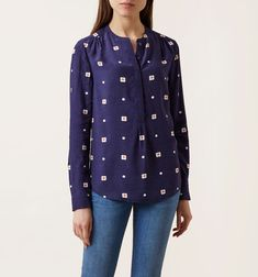 Buy Hobbs Charlie Floral Shirt, Blue/Multi from our Women's Shirts & Tops range at John Lewis & Partners. Hobbs, Floral Prints, Feminine, Denim, Long Sleeve, Sleeves, Model, How To Wear, Blue