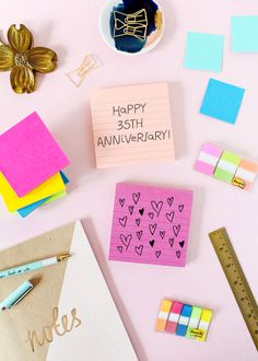 Celebrating 35 years with one of my favorite brands: @postitproducts! I always have a stack of Post-it® Notes on my desk for writing quick notes and reminders. How do you use @postitproducts to create and collaborate? #postit #35years #spon