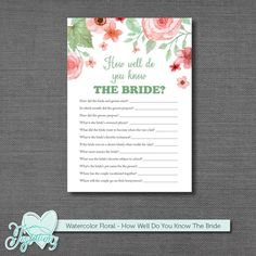 How Well Do You Know The Bride Bridal Shower Game by Joytations