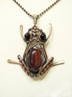 Frog Copper Pendant/Necklace Natural Stones от GloriousFrog