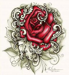 Chicano art Cholo Art, Chicano Art, Rose Tattoos, Body Art Tattoos, Tatoos, Colorful Drawings, Art Drawings, Tattoo Studio, Rose Tattoo Stencil