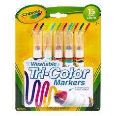 Toda criança gosta de expressar sua arte desenhando e colorindo, para isso é importante proporcionar segurança e conforto com um produto de qualidade comprovada.     Aproveite as Canetinhas Laváveis Tri-Color Crayola torna sua arte ainda mais divertida. Esta canetinha especial possui três pontas conforme você vai desenhando, pode utilizar uma cor diferente. Solte a imaginação para fazer muitos desenhos divertidos e coloridos.   E depois da brincadeira, basta lavar as mãos que a tinta sai…