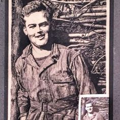 I never got to meet my dad's dad. The closest I ever came was spending this time drawing him. In high school I took that tiny little photo in the corner and made a charcoal drawing for my dad. This is him in his army fatigues during WWII at Battle of the Bulge. (1st picture) .  My mom's dad fought in the Korean War and met my grandma while he was stationed in Germany. Their story is my favorite. I was blessed to know and love him into adulthood. (2nd picture) .  They both went through a… My Dad, Mom And Dad, Modern Coasters, Army Fatigue, I Am Blessed, Korean War, Charcoal Drawing, Wwii, Battle