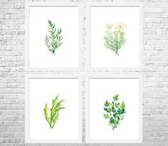 Kitchen Wall Art Set of 4 Prints Kitchen Poster by AnukArtPrint
