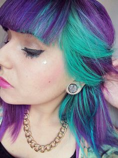 Green and purple hair