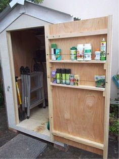 Shed Plans - 14 Breathtaking DIY Garden Sheds You Can Make Yourself - use the space on the door - Now You Can Build ANY Shed In A Weekend Even If You've Zero Woodworking Experience! shed design shed diy shed ideas shed organization shed plans Storage Shed Organization, Storage Shed Plans, Built In Storage, Garage Storage, Tool Shed Organizing, Clever Storage Ideas, Porch Storage, Storage Units, Smart Storage