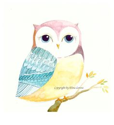 Nursery Decor / Nursery Wall Art/ Children room decor Original Organic  watercolor painting of an Owl by Elina Lorenz on Etsy, $34.99