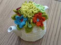 Knit or Crochet tea cozy! / Floral Crochet tea cozy