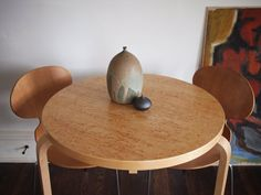 "Rare ARTEK Alvar AALTO Kitchen Dining Round Table, Curly Birch Top, 30"" dia., Mid-Century Danish Modern mad men eames era retro atomic knoll"