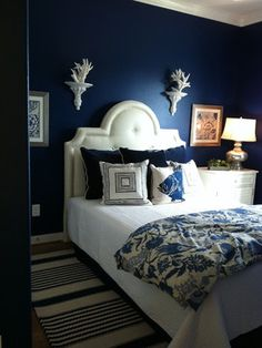 Luv the color, navy is so sexy! Spaces- One Size Doesnt Fit All bedroom