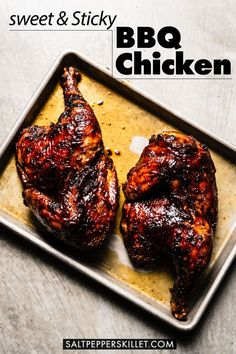 The most flavorful sweet and sticky BBQ Chicken made on the grill. First seasoned with a dry rub, then grilled and finished with an amazing BBQ sauce. #bbqchicken #grilledchicken #chickenrecipes