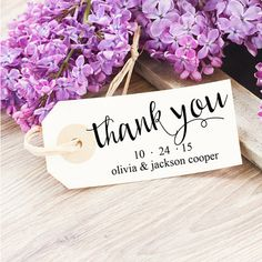 You can use this custom wedding stamp on gifts, wedding favors, and thank you notes. Custom Rubber or Self-Inking Stamps by SouthernPaperAndInk on Etsy $25. Click through to see a selection.