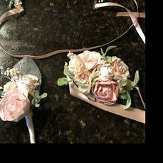Andria Criego added a photo of their purchase Wrist Corsage Wedding, Flower Headpiece Wedding, Bridesmaid Corsage, Blush Wedding Flowers, Flower Crown Wedding, Bridal Flowers, Flower Bouquet Wedding, Blue Bridesmaids, Baby Flower Crown