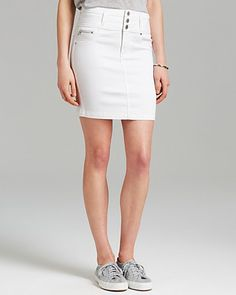 Stumped on how to wear a white denim skirt without looking dated? We've rounded up some of our favorite white denim skirt outfits along with some cool places to buy them. Denim Skirt Outfits, White Denim Skirt, Denim Pencil Skirt, Denim Mini Skirt, Denim Skirts, Walk Of Shame, Button Skirt, Hilfiger Denim, How To Wear