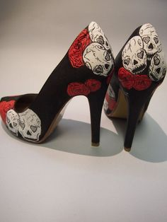 Hand painted high heels skulls and roses Custom shoes